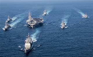 美航母战斗群刚出东海再进南海