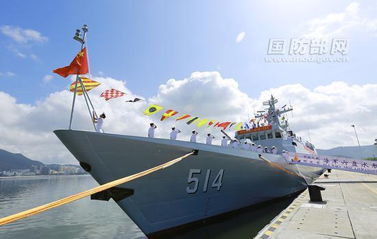 中国新型056级护卫舰六盘水舰加入海军战斗序列