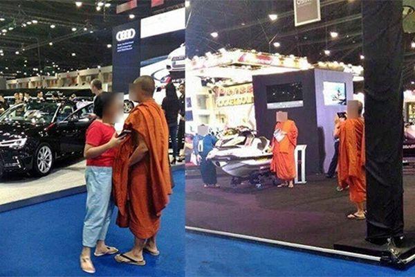 泰国僧人带女友看车展 举止亲密被网友骂