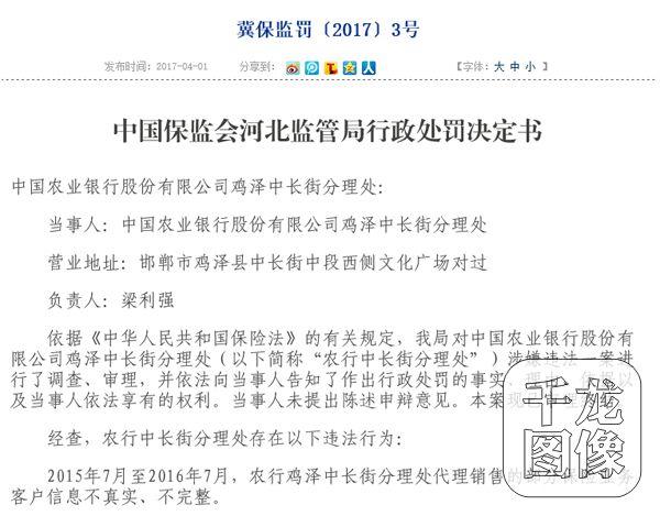 """中国农业银行收保监会罚单 罚单拿到手软""""一行三会""""占其三"""