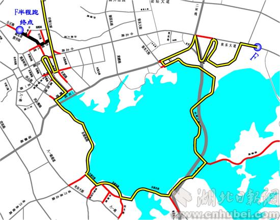 比赛当日东湖绿道周边交通组织图(通讯员 杨凌云 制图)-武汉交警解图片