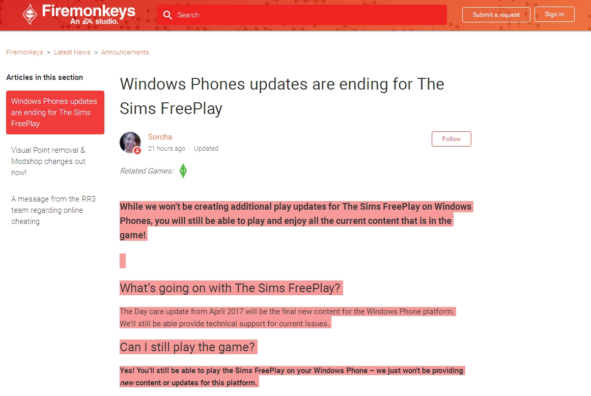 《模拟人生》免费版将不再为Windows Phone提供更新