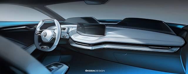 斯柯达Vision E概念车内饰图发布 上海首秀
