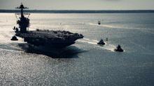 航拍:美军史上最昂贵航母下水 造价近900亿