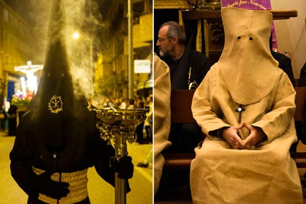 """西班牙举行圣周庆祝游行 民众扮""""忏悔者""""参加"""
