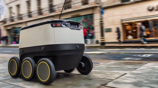 与无人机竞争 快递机器人现身伦敦街头