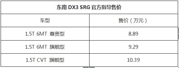 8.89-10.39万元东南DX3 SRG上海车展燃擎上市