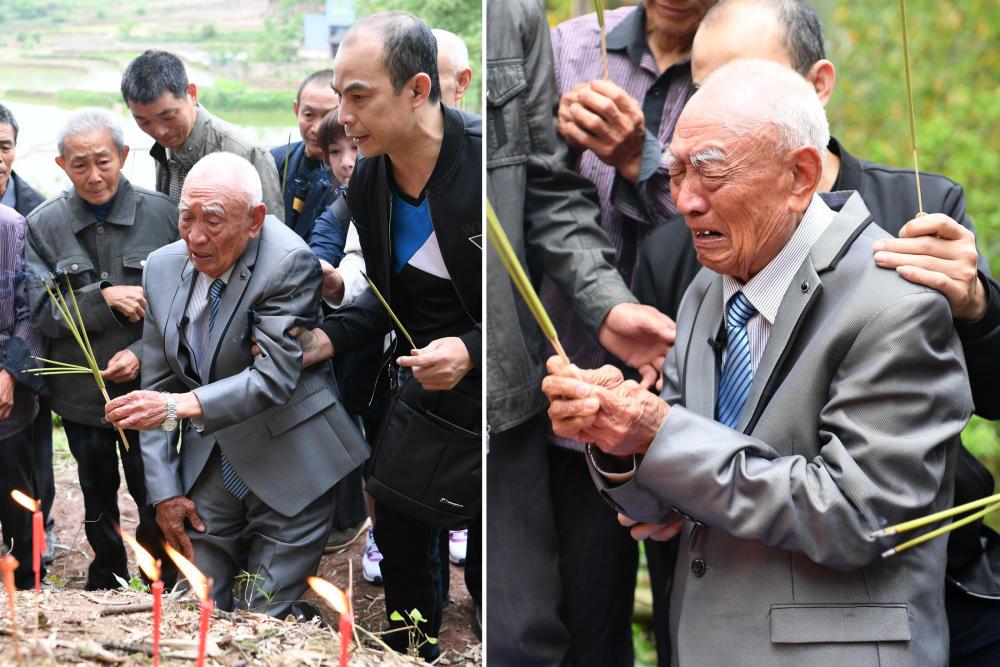 台湾老兵隔77年回家乡 父母坟墓前痛哭