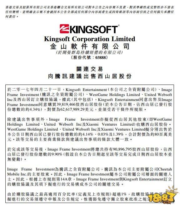 腾讯1.43亿美元战略入股西山居 加强游戏业务合作