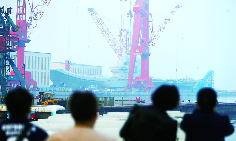 外媒:中国国产航母进入下水倒计时 速度令美惊叹