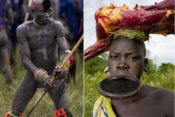 """埃塞俄比亚部落""""穿""""彩绘当服装 男子为娶娇妻棍棒大战"""