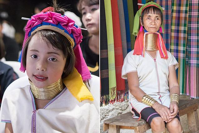 泰国长颈族女人5岁起带项圈终生不卸