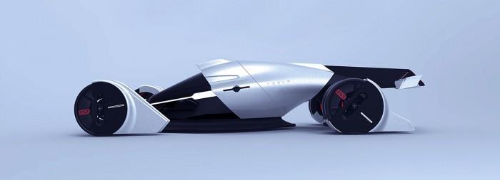 通过风力发电获得能量的特斯拉T1概念赛车