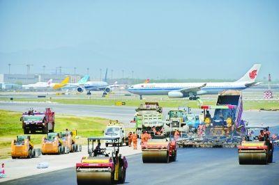 首都机场中跑道大修提前三天完工