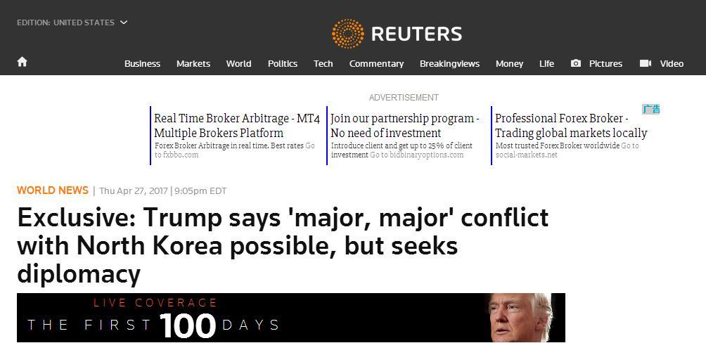 """重磅!特朗普:美国或与朝鲜爆发""""重大冲突"""""""