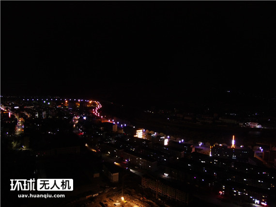 无人机航拍鸭绿江对岸 朝鲜夜景真是黑洞吗?
