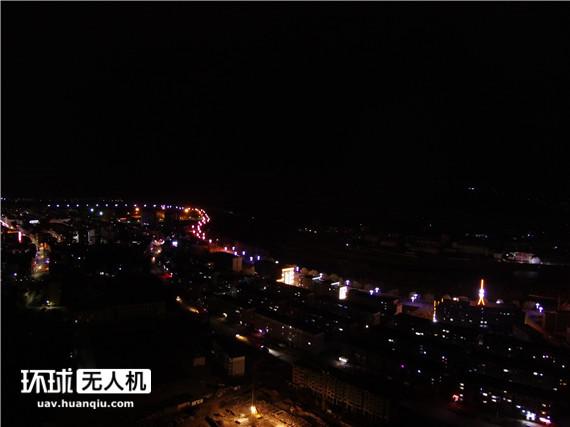 无人机航拍朝鲜夜景