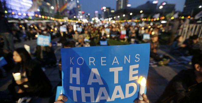 """大选在即 韩国首尔5万人举行反""""萨德""""烛光集会"""
