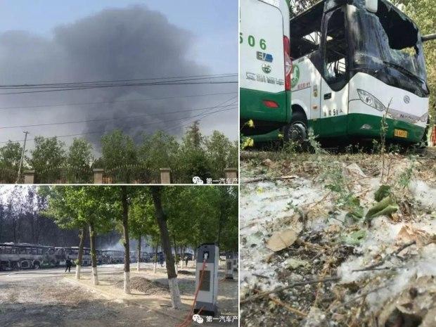 飞絮惹的祸?蟹岛大火烧毁80余台大巴车