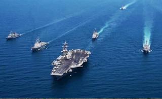 威慑朝鲜:美韩组成航母混合舰队秀武力
