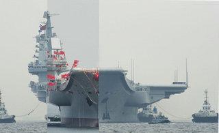 国产航母和辽宁舰多角度对比