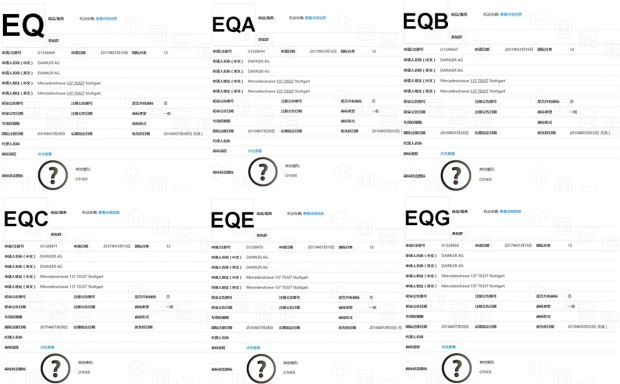 EQA/EQE/EQS等 奔驰在华注册8款商标