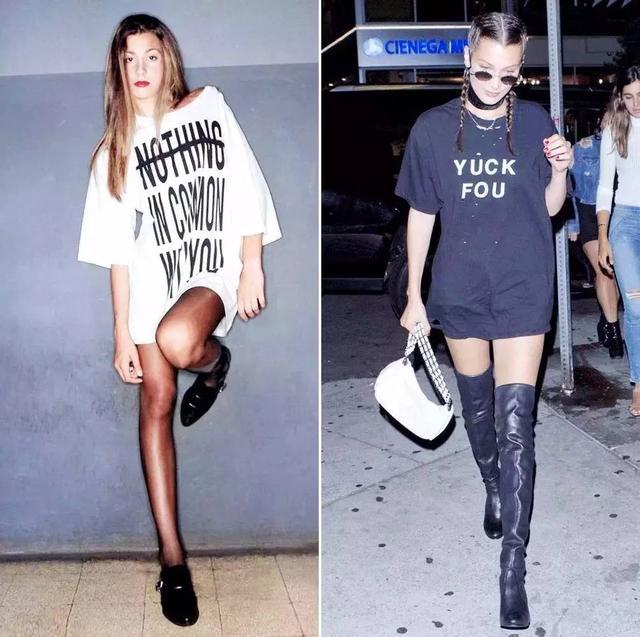 今年流行长衬衫配光腿?是的图片