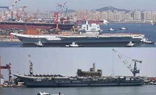 对比中印两国国产航母下水区别