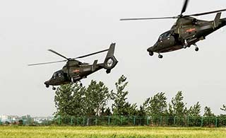 空降兵武直超低空掠过草地