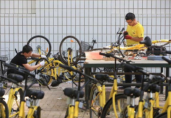 实拍天津小黄车维修点:近千辆共享单车等待维修