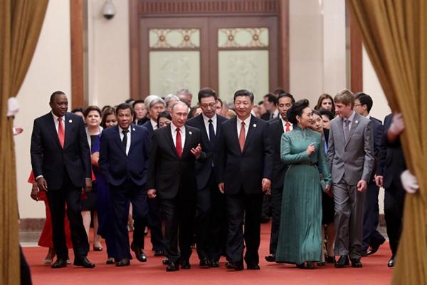 """习近平举行""""一带一路""""国际合作高峰论坛欢迎宴会并致辞"""