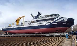 俄罗斯最新海洋调查船正式下水