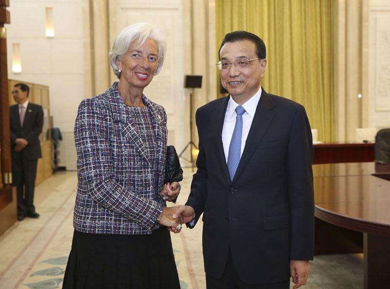 """李克强分别会见出席""""一带一路""""高峰论坛的国际金融机构负责人"""