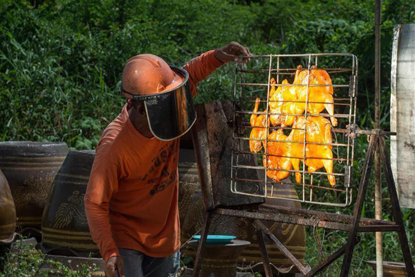 泰国小商贩用太阳能装置制作烤鸡