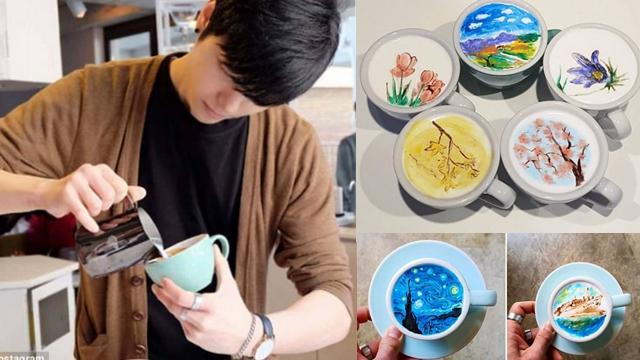 惊艳!韩国咖啡师打破传统做彩色拉花