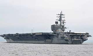 美国海军里根号航母返回横须贺