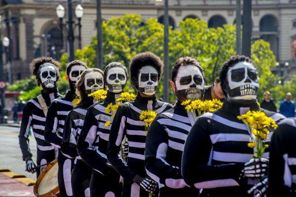 """巴西圣保罗民众""""骷髅装""""出行抗议 反对减少文化预算"""
