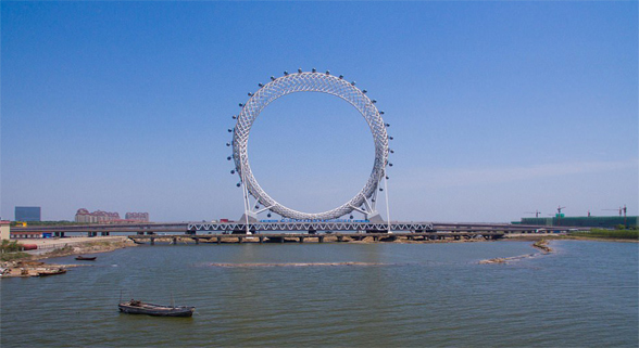 """山东省""""渤海之眼""""摩天轮完工 创三项世界之最"""