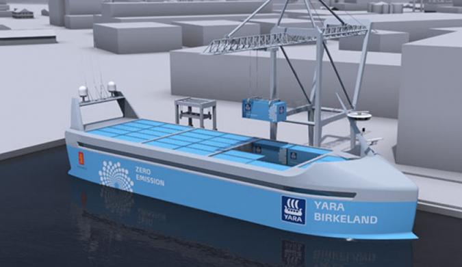 世界上第一艘自动驾驶电动货船问世