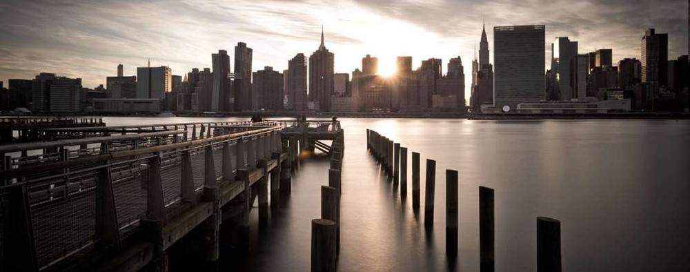 纽约曼哈顿日落天际线