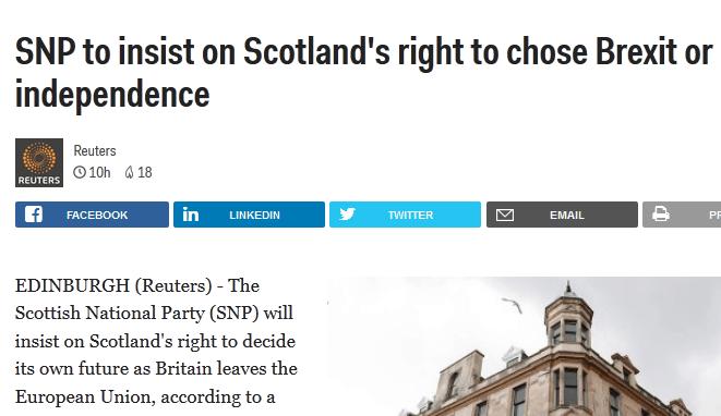 斯特金再次发声 称苏格兰有权选择脱欧或独立