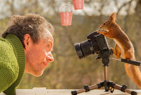 角色反转 瑞典小松鼠拿起相机拍摄影师