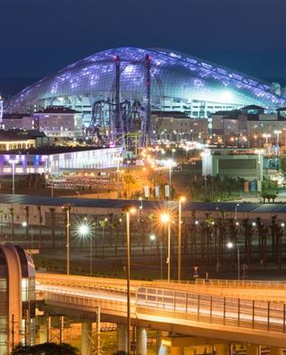 俄罗斯索契城市夜景 主题公园灯光灿烂