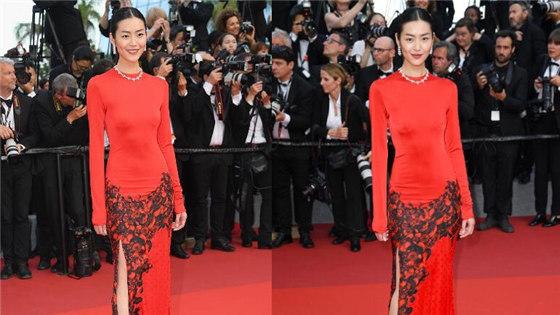 刘雯穿深红旗袍亮相红毯