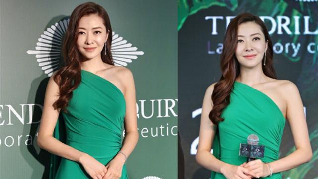 熊黛林穿露肩绿裙小秀性感 身材玲珑有致
