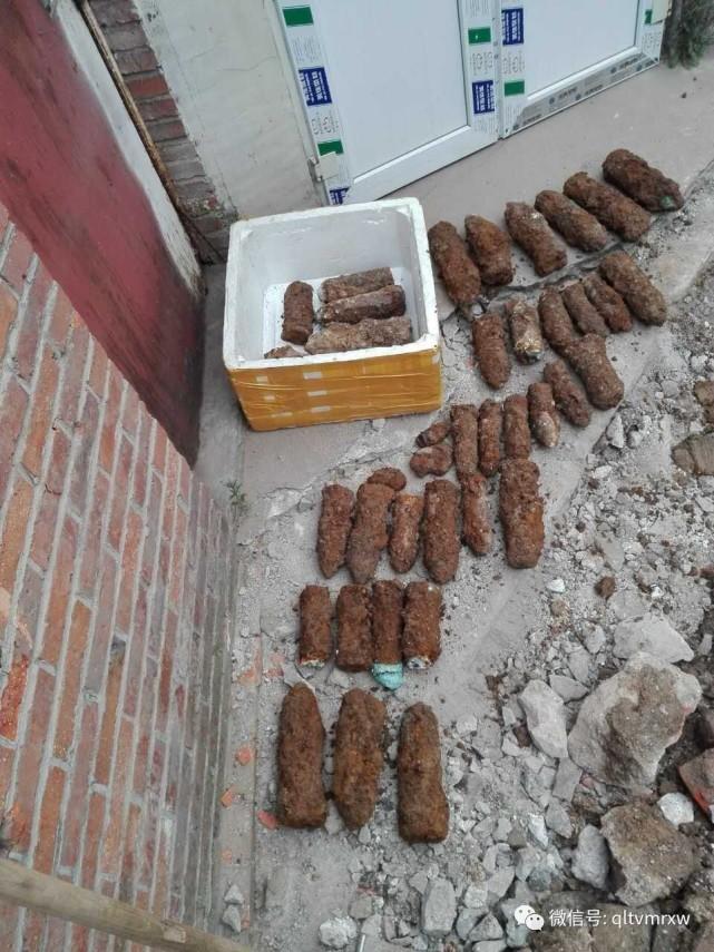 济南老小区挖出40枚炮弹 居民吓坏