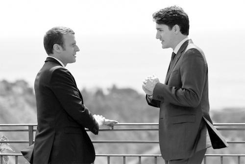马克龙与特鲁多在G7 峰会期间见面