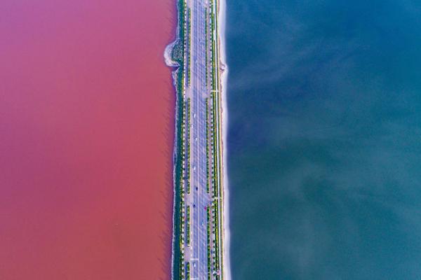 """山西运城盐湖变""""鸳鸯锅"""" 半红半绿"""