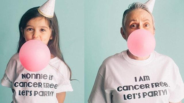 美国3岁小网红庆祝外婆战胜病魔 与其拍合照