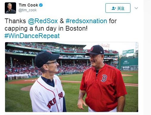 库克在麻省理工学院演讲完 访零售店看棒球赛